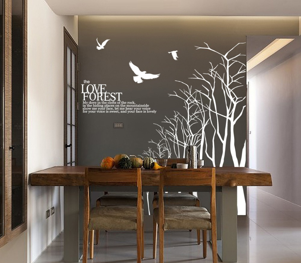 Love forest wall sticker for dining room tree branch wall decal love forest wall sticker for dining room tree branch wall decal winter tree wall decals large wood tree bible quote in wall stickers from home garden on sxxofo