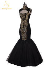 2015 Hot Sexy Evening Gowns Beyonce Gala Black And Gold Embroidery Beaded High Neck Floor Length Mermaid Celebrity Dresses QA114