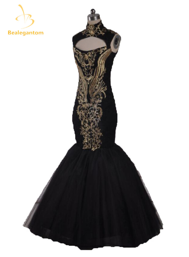 2018 Hot Sexy Evening Gowns Beyonce Gala Black And Gold Embroidery Beaded High Neck Floor Length Mermaid Celebrity Dresses QA114