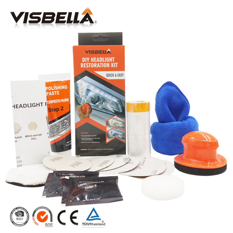 VISBELLA Headlamp Polishing Paste Kit DIY Headlight Restoration System for Car Care Repair Hand Tool Sets by Manual with Cloth in Hand Tool Sets from Tools