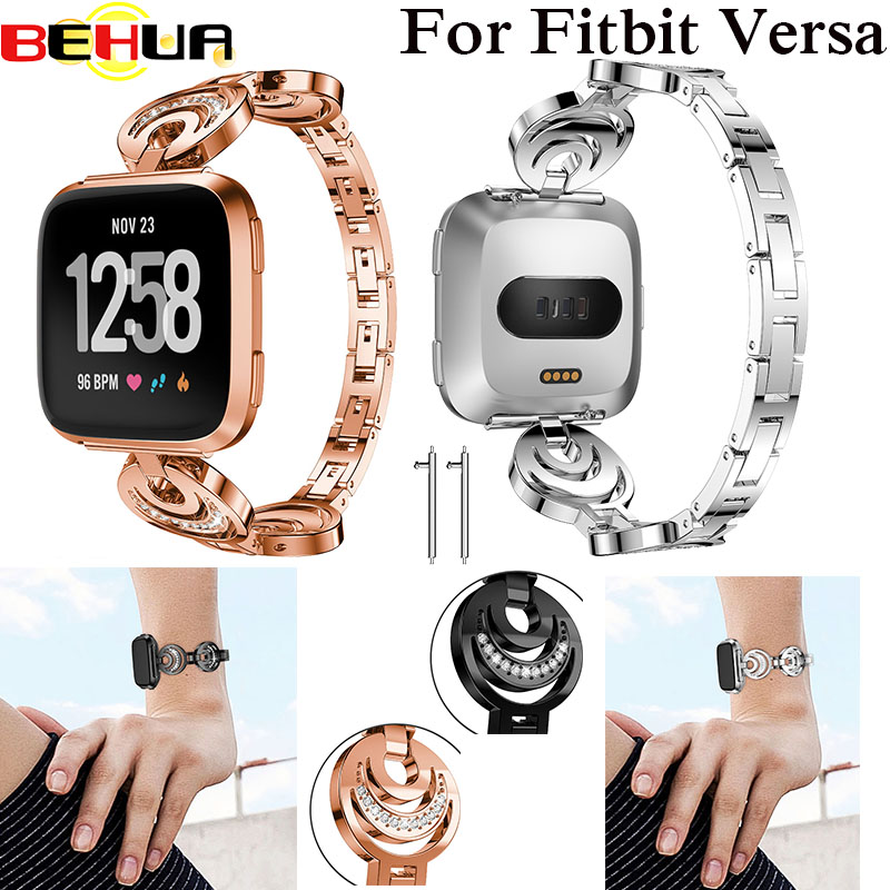 Crystal Alloy Replacement Watch Band For Fitbit Smart Versa Fashion Shine Wrist Strap With Rhinestone Elegant Luxury 2018