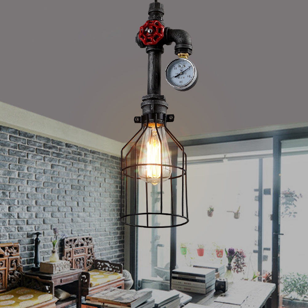 Retro Loft Style Vintage Pendant Light Droplight Iron Water Pipe Hanging Light For Cafe Bar Home Lighting Lamparas Colgantes edison inustrial loft vintage amber glass basin pendant lights lamp for cafe bar hall bedroom club dining room droplight decor