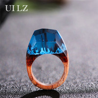 UILZ 2017 New Resin Wood Rings Blue Magic Forest Ring Handmade Ring For Women Gift Jewelry