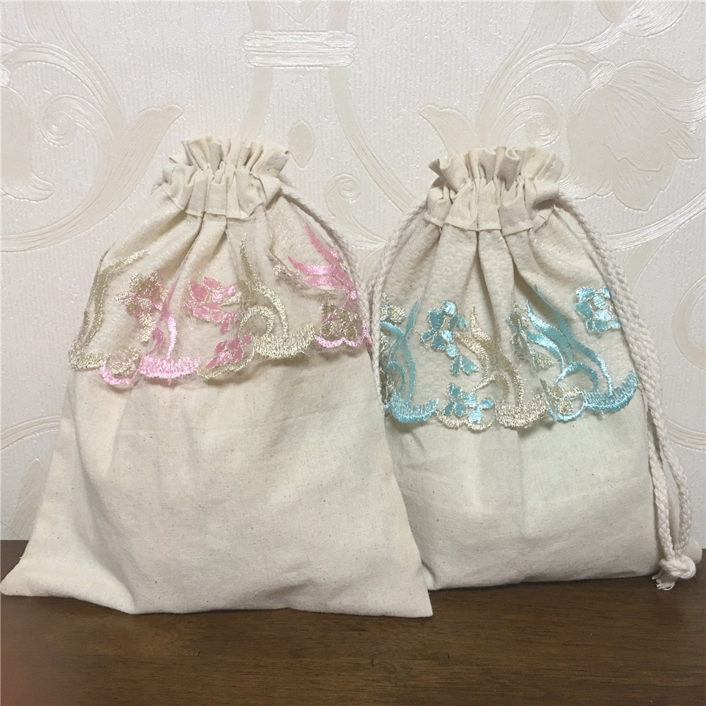 YILE Handmade Solid Cotton Drawstring Organizer Bag Embroidered Lace Trim Gift Bag 8023g