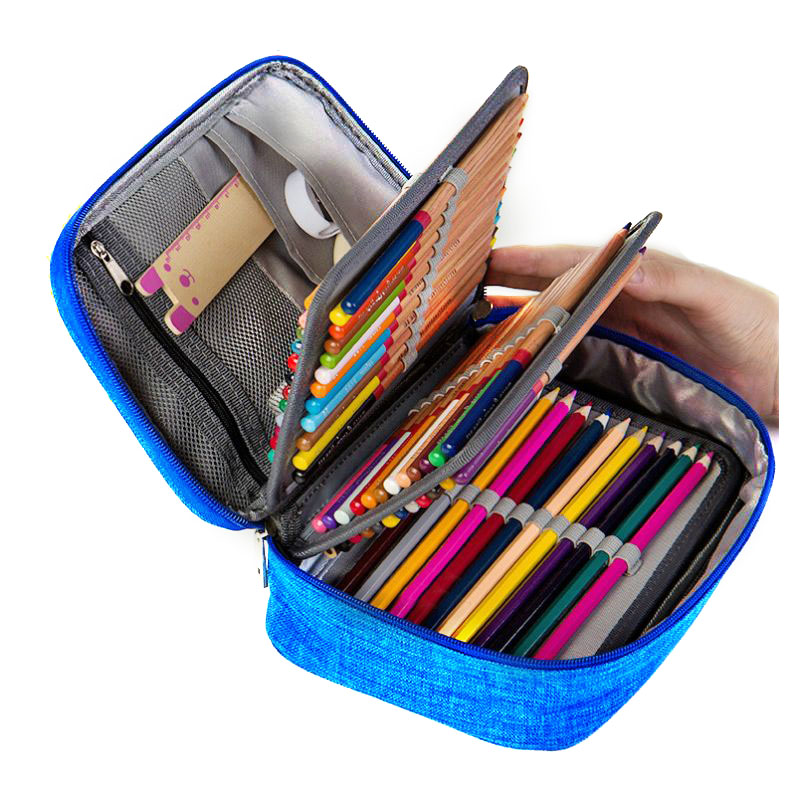 Mini Canvas School Pencil Cases Large Capacity 72 Holes Pen Box Zipper Penalty Multifunction Storage Bag Case Pouch Supplies купить