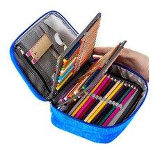 Мини-холст школы Пеналы для карандашей большой Ёмкость 72 Отверстия ручка коробки на молнии штраф многофункциональная сумка для хранения Чехол поставки