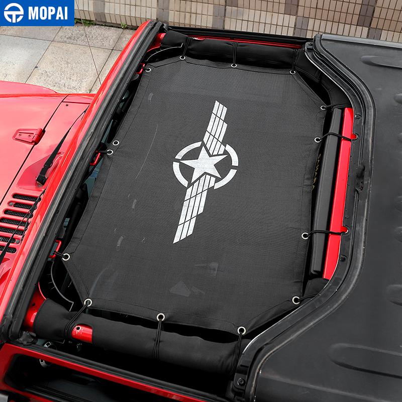 Image 4 - MOPAI 2 Door Car Top Sunshade Cover Roof Anti UV Sun Shade Protect Mesh Net Accessories For Jeep Wrangler 2007 2017 Car Styling-in Car Covers from Automobiles & Motorcycles