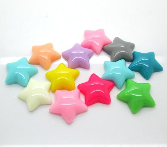 50Pcs Mixed Star Resin Beads Decoration Crafts Flatback Cabochon Scrapbooking Fit Phone Embellishments Diy Accessories