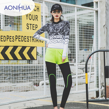 Aonihua Sport Swimsuit Women Two Pieces Running Exercise Swim Swer Long Sleeve Female Separate S-2XL