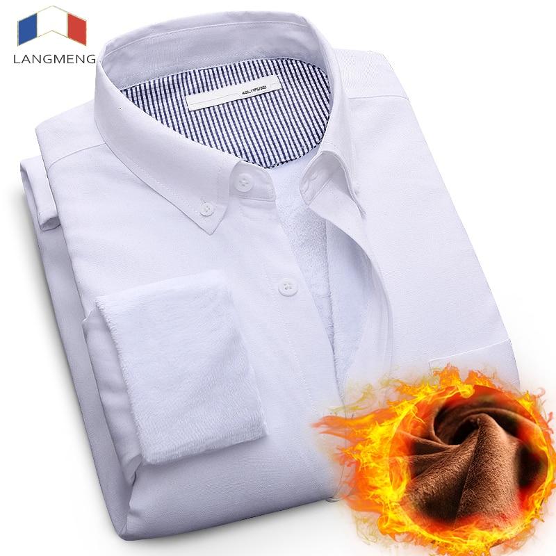 LANGMENG 2017 Winter Thicken Warm Shirt Men Long Sleeve Brand Fleece Casual Shirt Mens Solid Business Dress Shirt Chemise Homme