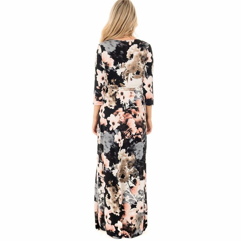 dc31cf83733 2019 Saslax Sexy Boho Women Summer Floral Print V Neck Maxi Dress ...