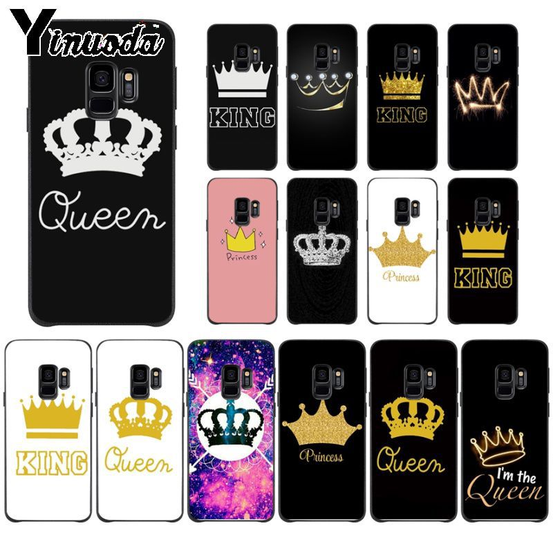 Yinuoda Cartoon Crown King And Queen Novelty Fundas Phone Cover For Samsung S9 S9 Plus S5 S6 S6edge S6plus S7 S7edge S8 S8plus Half-wrapped Case Phone Bags & Cases