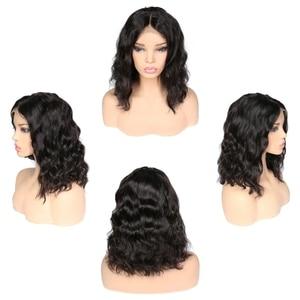 Image 4 - Parrucche corte Bob per donna parrucca frontale in pizzo ondulato radici nere Remy parrucche brasiliane anteriori in pizzo parrucche ondulate naturali 130%