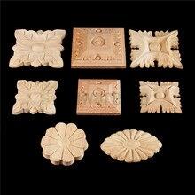 Bowarepro Retro Vintage madera calcomanía tallada ángulo de los muebles apliques decorar marco figuritas de madera gabinete decorativo artesanías 1/p