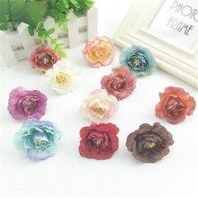 5 uds simulación vintage Camelia flor falsa seda flor boda arcos Pared de flores fondo de fotografía Mesa decorativa flor