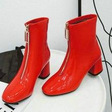 Женские ботинки; удобные ботильоны на высоком квадратном каблуке; модные женские ботинки из лакированной кожи на молнии с квадратным носком; сезон осень-зима
