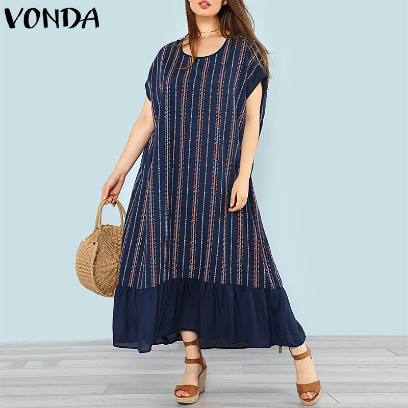 VONDA 2018 Summer Casual Loose O Neck Batwing Sleeve Ruffles Patchwork Plus Size Beach Vestidos Women Striped Maxi Long Dresses