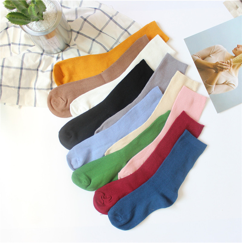New Harajuku Retro Cute Cotton Women Lady Loose   Socks   Autumn Winter In Tube Korean Japanese   Socks   Pure Color White Yellow