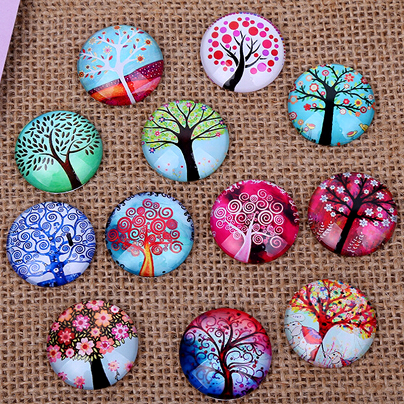 24pcs 12 14 16mm Tree Of Life Pattern Round  Handmade Photo Glass Cabochons Glass Dome Cover DIY Handmade Cabochon Bead Settings