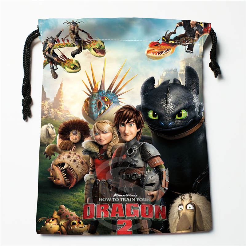 T&w168 New How To Train Your Dragon 04 Custom Printed  Receive Bag Compression Type Drawstring Bags Size 18X22cm F725&168wn