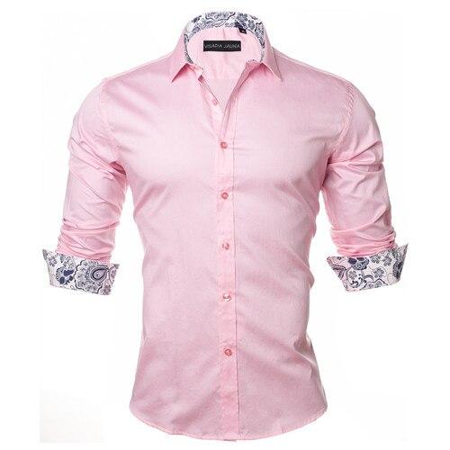 VISADA JAUNA Men's Shirt 2019 Fashion Casual Long Sleeve Solid 100% Cotton Slim Fit Dress Business Shirts Men Brand Clothing 5XL 5