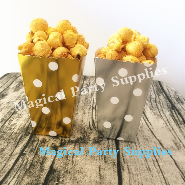 Free Ship 120pcs Glitter Gold/Silver Paper Popcorn Box for Retro Party/Hollywood/Movie F ...