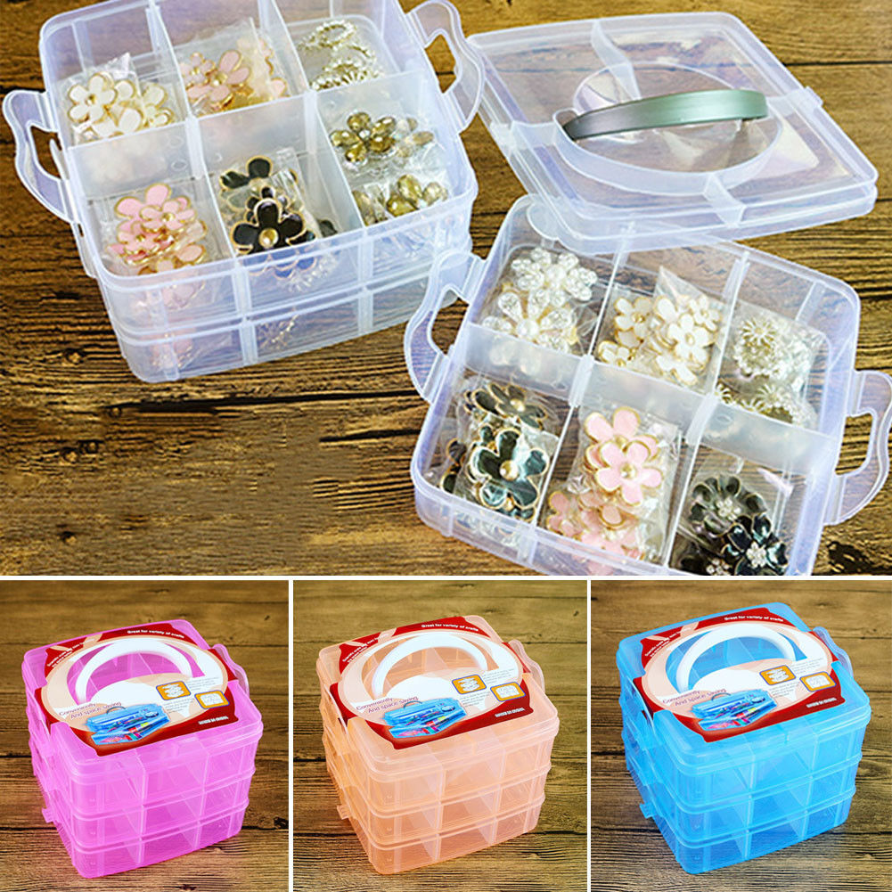 18 Compartments Plastic Box Adjustable Jewelry Beads Pills Nail Art Storage Organizer for the office housekeeping organization