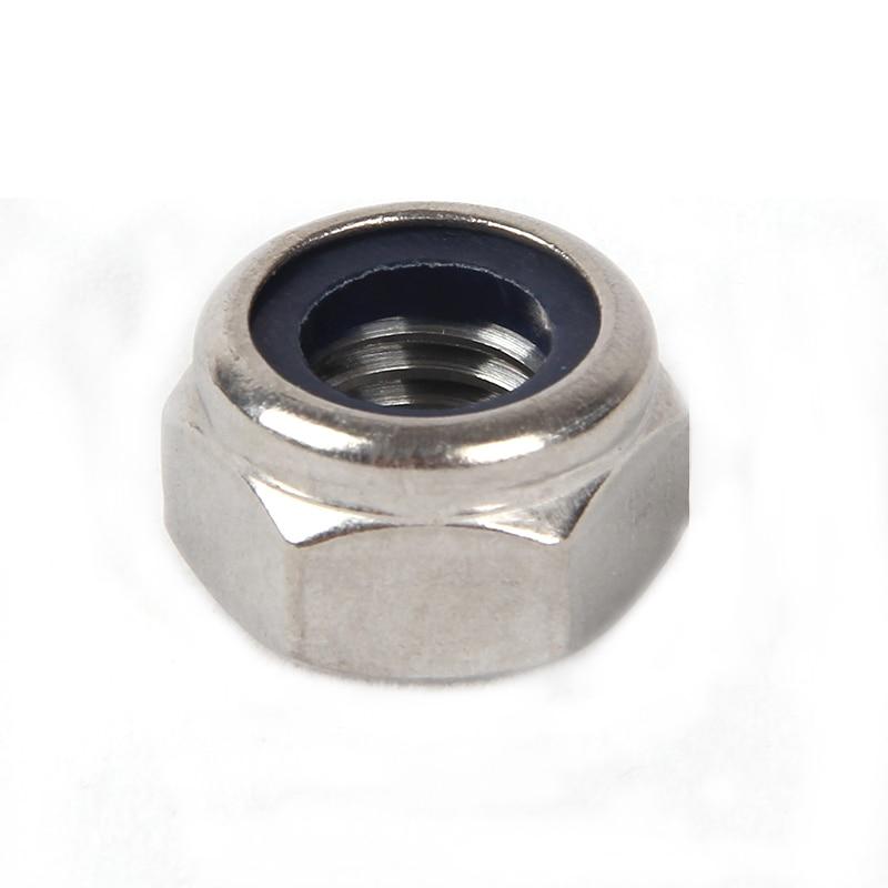 Купить с кэшбэком Nylon Lock Nuts Metric Hexagon Threaded Nut 304 Stainless Steel M2 M2.5 M3 M4 M5 M6 M8 M10 M12 M14 M16 M18 M20 M24