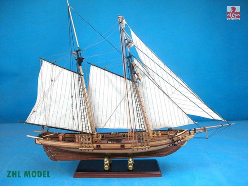 ZHL New port model ship wood