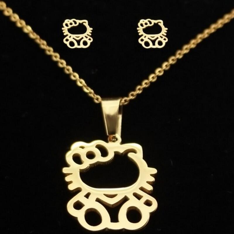 Милый медведь Марка прекрасный кот кулон Цепочки и ожерелья Модные украшения комплекты Нержавеющаясталь покрытие милый котенок серьги дл...