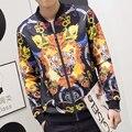 Новый 2016 осень китайский стиль мода тигр глава печати повседневная бомбардировщик куртка мужчины casaco masculino мужская одежда размер m-4xl JK3-5