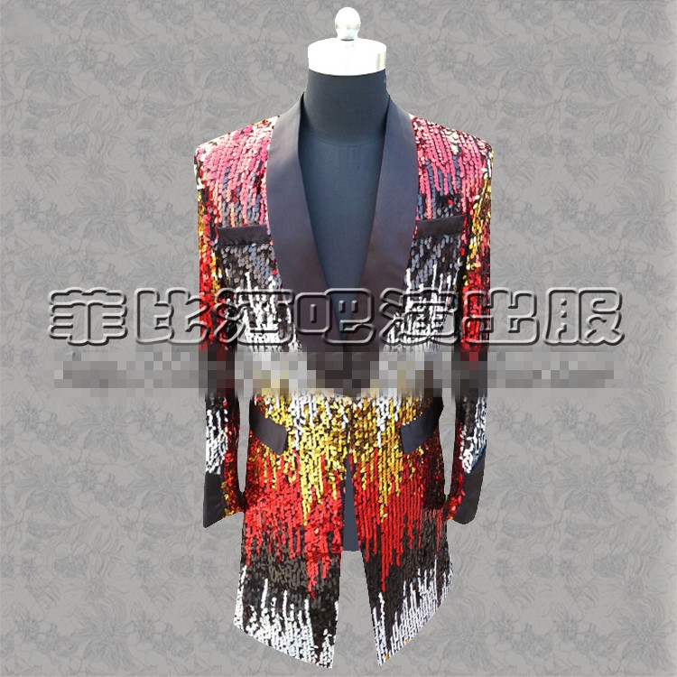male costume Feather Long coat fashtion long hair stylist jacket blazer coat slim singer dancer star show prom bar nightclub