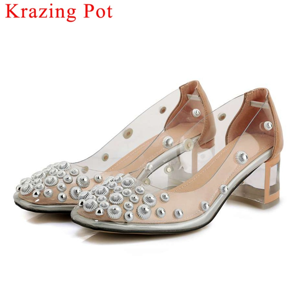 2019 slip on square toe low heels slip on metal rivets studded cow leather popular pvc transparent fairy beauty girls pumps L6f2