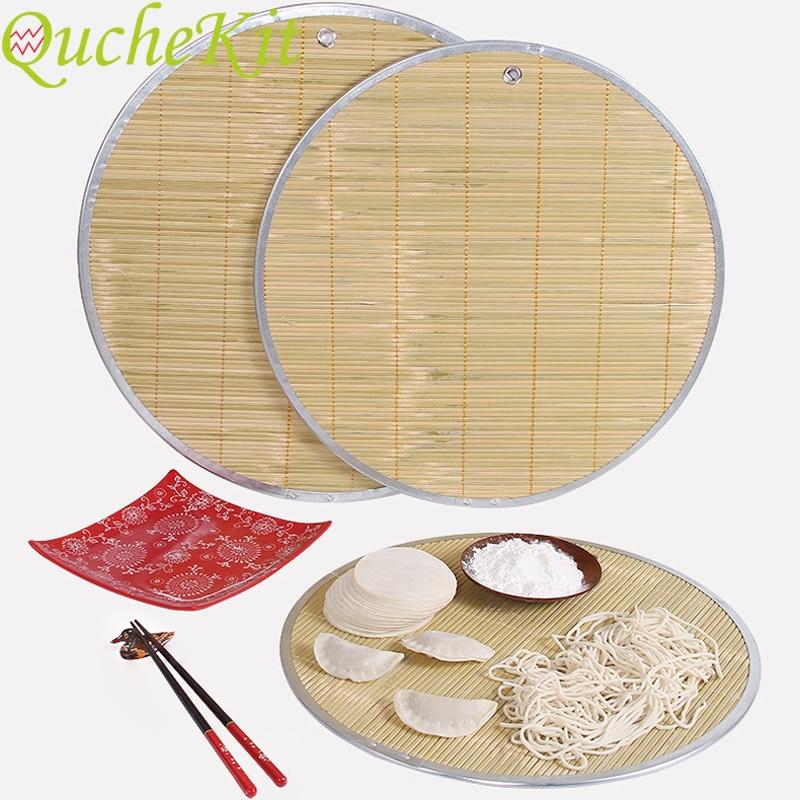 Bamboo Steamer Pad Non-stick Round Dumplings Mat Steamed Dumpling Noodle Dough Mat Pasta Bamboo Curtain Food Tray 38/43/46cm