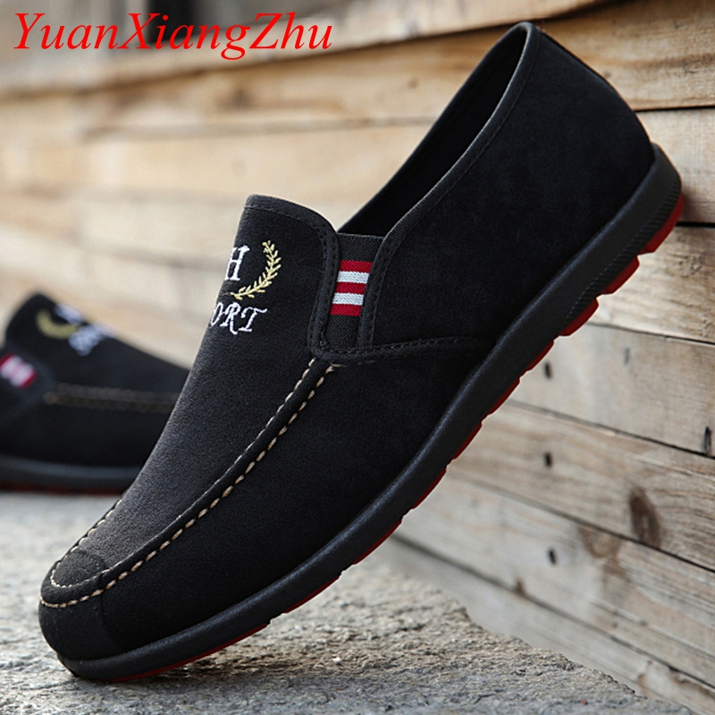 2018 Spring New Men Black Loafer Shoes Trendy Nubuck Leather Slip-on Loafers Vintage Style Men Driving Casual Blue Flat Shoes