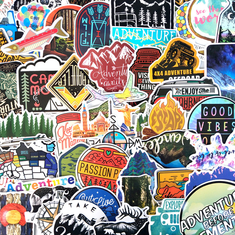 65Pcs Hiking Travel Stickers Adventure Outdoor Wildness Landscape Waterproof PVC Decal For Car Laptop Suitcase Children Toys F3