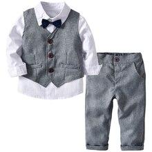 Костюмы для свадьбы для мальчиков детская одежда торжественный Детский костюм для малышей Детская одежда серый жилет+ рубашка+ брюки Одежда для мальчиков одежда для малышей