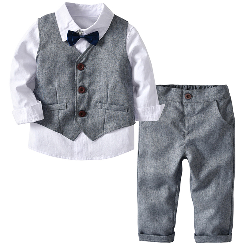 Boys Wedding Suits Kids Clothes Toddler Formal Kids Suit Children'S Wear Grey Vest + Shirt + Trousers Boys Outfit Baby Clothes