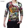 2016 recién llegado de Mens suéter delgado del dragón del estilo chino impreso con cuello en V Slim Fit Pullover hombres de la alta calidad cómodo tirón Homme