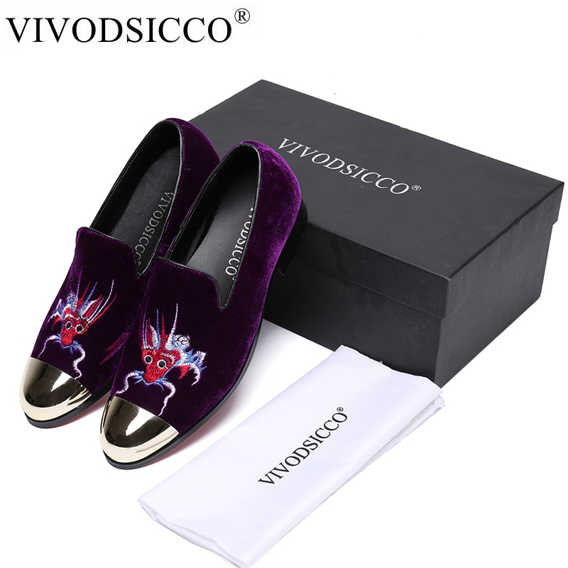 VIVODSICCO Fashion Men Loafers Embroidery Velvet Shoes British Prom Wedding Shoe Smoking Slippers Men Flats Drive Dress shoes handcraft men velvet shoes with bird embroidery british style smoking slippers fashion party and wedding men dress loafers