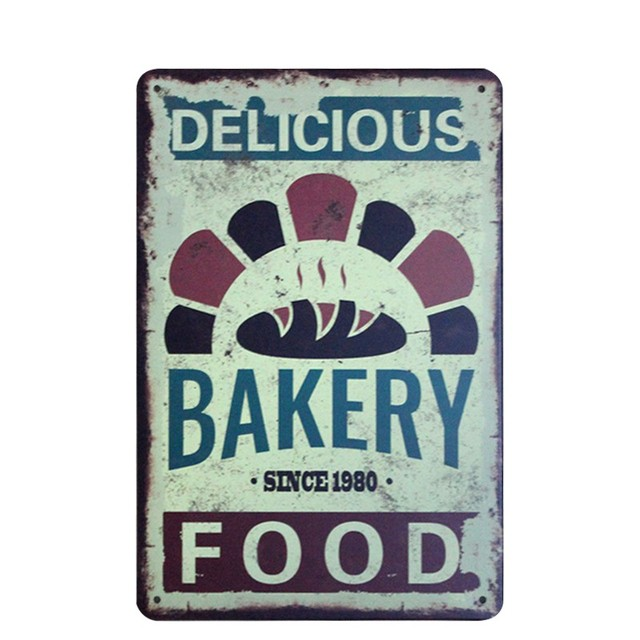 Delicious Bakery Food Painting Metal Stickers Tin Signs Cafe Kitchen Poster  Vintage Plaque Decor Wall Plaque