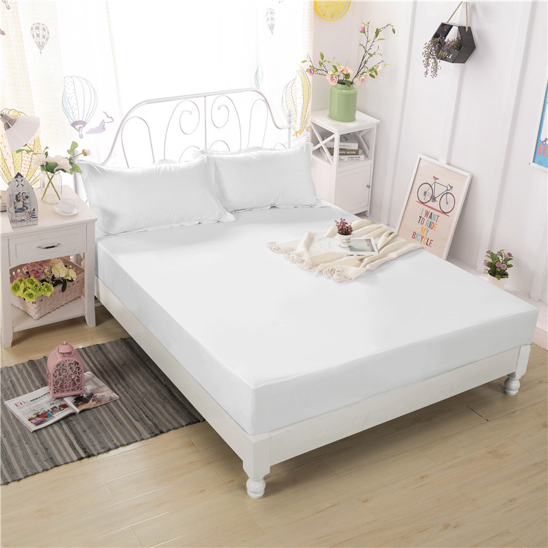 Fashion New Trend Of European Style Polyester Fiber Solid Color Comfortable Soft Three-Piece Bedding Fitted Sheet+Pillowcase