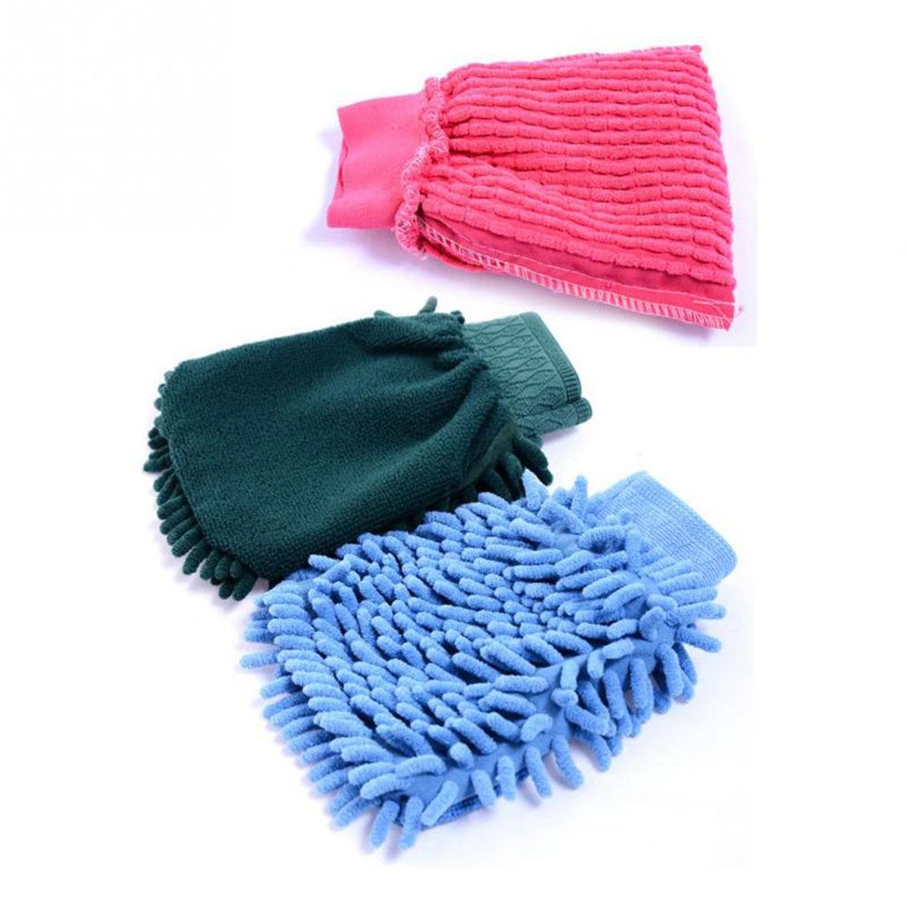 1 шт. Моющиеся Автомобиля Стиральная Очистка перчатки инструмент шайба автомобиля Супер Митт микрофибры чистки случайный цвет