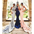 Sexy Mermaid Halter Bridesmaid Dresses Navy Blue Appliqeus Beaded Sequins Long Orom Gowns Women Pink Formal Party Dress