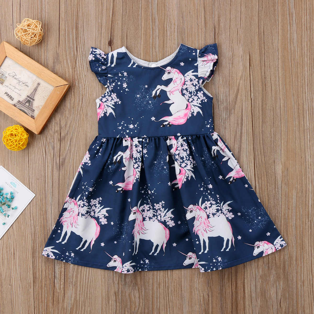 bc22f27a7b9752 ... Toddler Baby Girls Dress Round Neck Floral Outfits Unicorn Summer  Sleeveless Blue Dresses Girl Clothing Cute ...