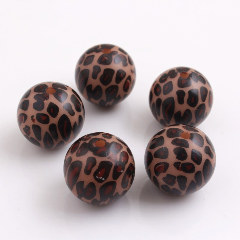 Kwoi Vita 20mm Brown Color Whoelesales Price Chunky Acrylic Leopard Beads For Kids Necklace Bracelet Jewelry Making 100pcs