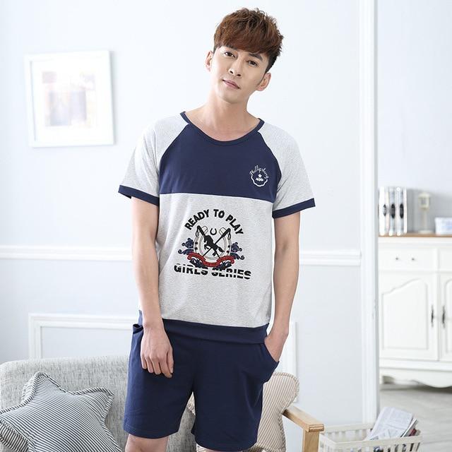 Summer New Lovers Cotton Pajamas Sets Women's Sleepwear Round-neck Mens Pajamas  Men's  Sleep&Lounge Homewear Fashion Clothing