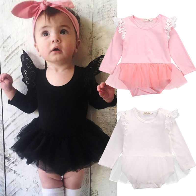 Newborn Baby Girl Clothing Lace Long Sleeve Bodysuit Cute Ruffles Tulle Tutu Tops Sunsuit Outfits Clothes Baby Girls