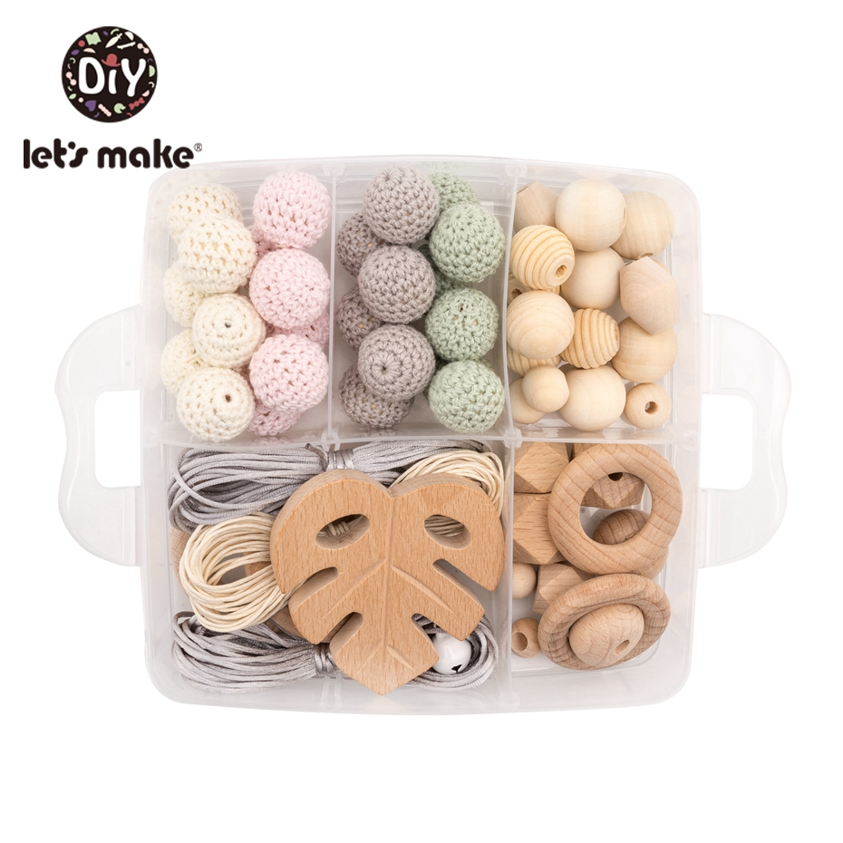Let's Make Wooden Teether Set Accessories Beech Maple Leaves Colorful Crochet Beads Baby Hands-on Toys Rattles Baby Teether
