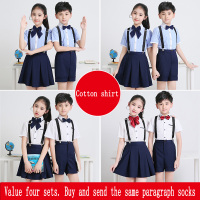 High quality 2018 children's chorus costumes boys and girls bib primary school class uniforms kindergarten performance clothing